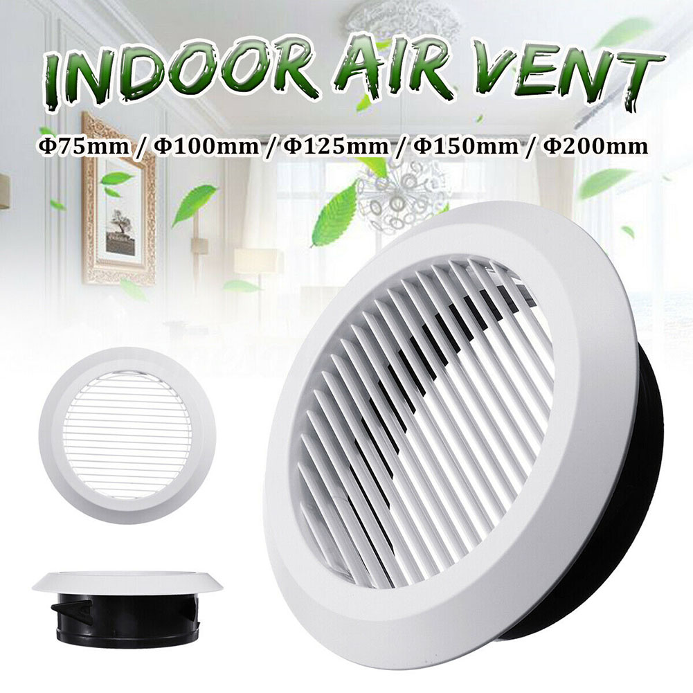 Air Vent Grille Circular Indoor Ventilation Outlet Duct Pipe Cover Cap 75mm/100mm/125mm/150mm/200mm--M25
