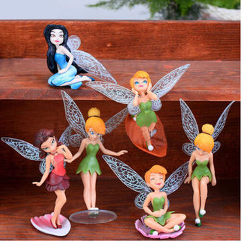 6Pcs Flower Fairy Pixie Fly Wing Family Miniature Artificial Garden Ornament Home Decor Decoration Craft