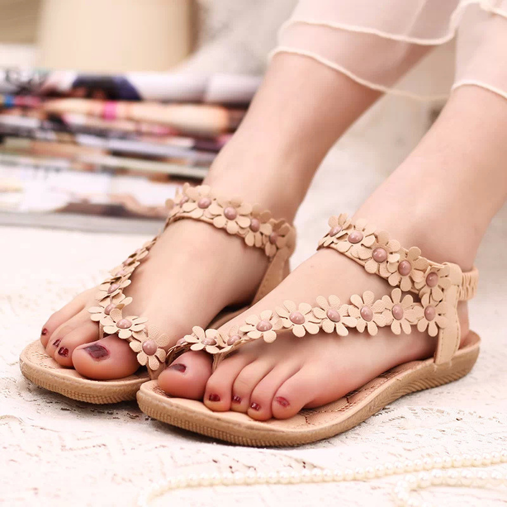 Beauty Boho Women Sandals Flower String Bead Flat Heel Female Square Toe Sandals