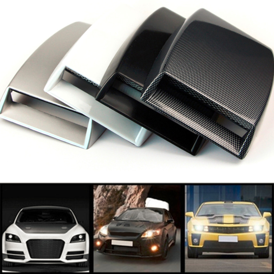 Carbon Fiber Pattern Air Flow Intake Scoop Turbo Bonnet Vent Cover Hood for Car