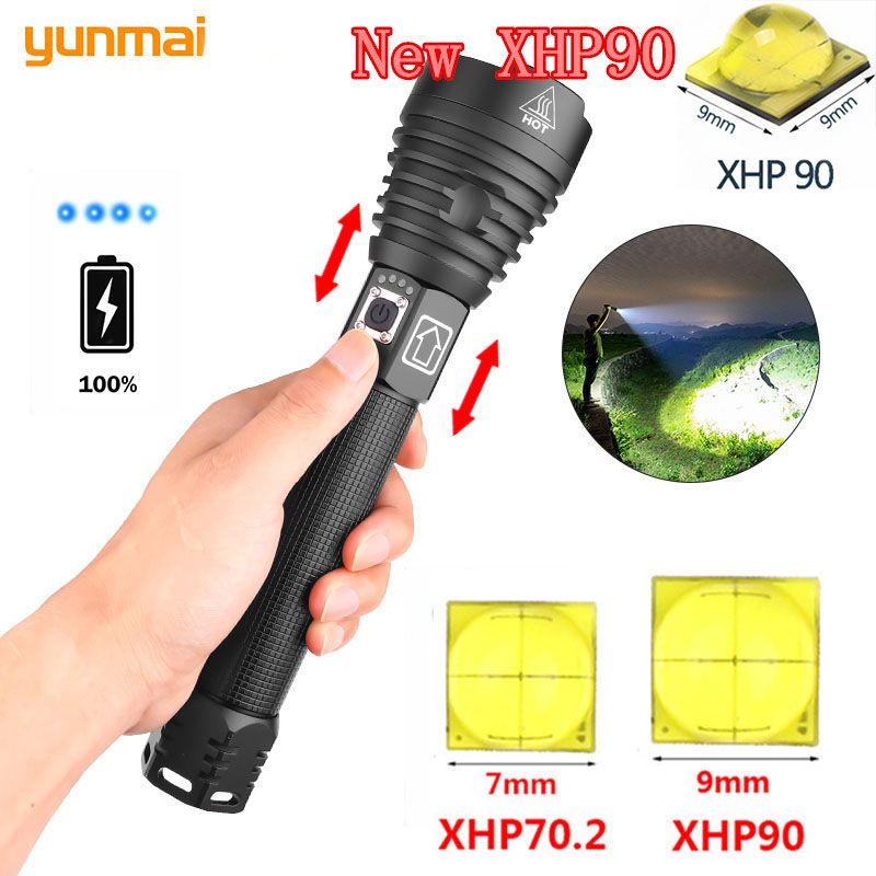 Most Powerful XHP90 LED Flashlight XLamp Zoom Torch XHP70.2 USB Rechargeable Tactical Light 18650 Or 26650 RUNNING Hunting Lamp
