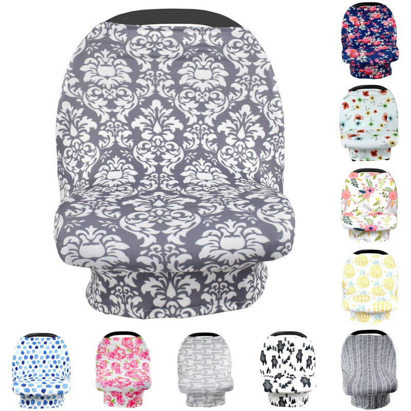 Stretchy Car Seat Canopy Multi Use Cover Beanie Carrying nursing cover pineapple