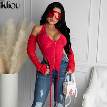 Tops Women T-Shirts Clubwear Hot-Tees Long-Sleeve Backless Female Kliou Sexy HALTER V-Neck