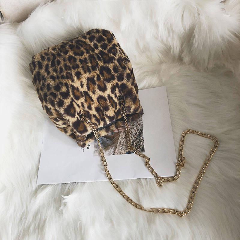 Long Chain Shoulder Bags Leopard Crossbody Bag Women Bags Leopard Print Ladies Shoulder Casual Tote Bags in Top Handle Bags from Luggage Bags