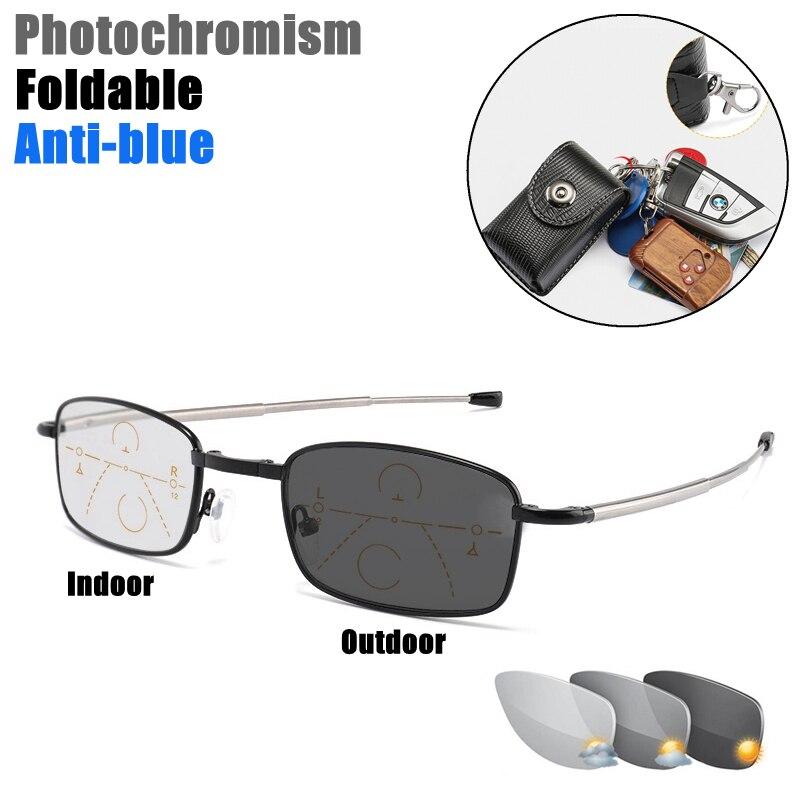 Outdoor Photochromic Reading Glasses Men Progressive Multi Focal Full Frame Metal Foldable Presbyopic Glasses with Case Black