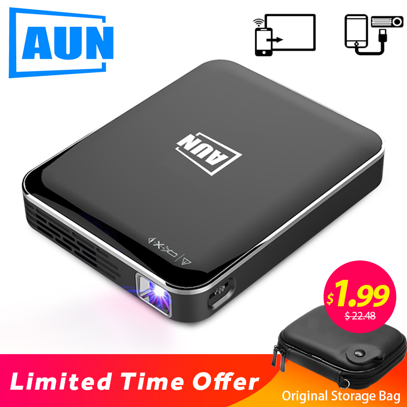 AUN MINI Projector X3, Support Mobile Phone Screen Mirroring, Portable projector for Full HD 1080P Home Cinema, Travel 3D Beamer