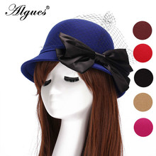Voile Silk Large Bow Bowler Hat Autumn And Winter Elegant Lady Hat Fashion Warm Faux Wool Felt Hat Vintage Bowler Felt Hat britain fuzzy ball embellished felt horseman hat