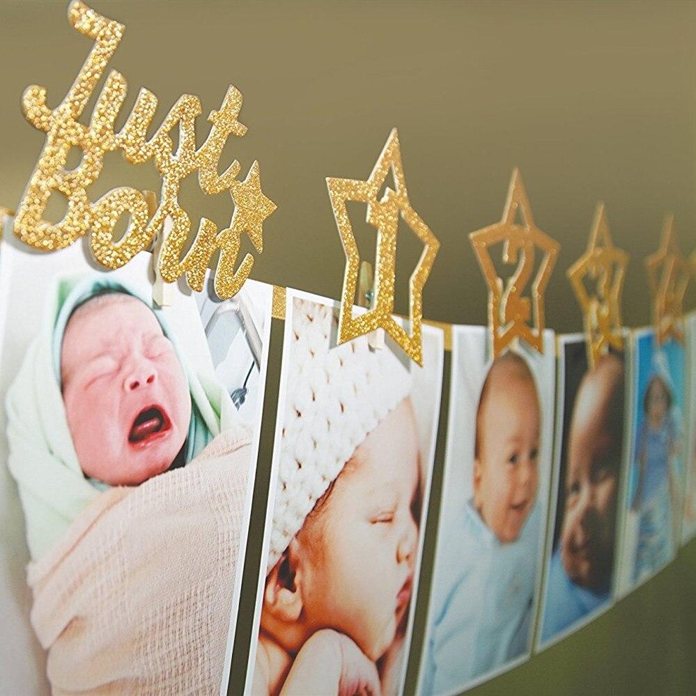 12 1st meses Photo Frame Banner Pendurado Decoração Do Aniversário Do Chuveiro de Bebê Menino Menina de Um Ano Batismo Fontes Do Partido Guirlanda Ouro