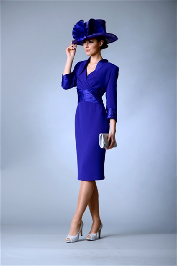 Royal Blue Mother Of The Bride Dresses Sheath Knee Length With Jacket Plus Size Short Groom Mother Dresses For Wedding