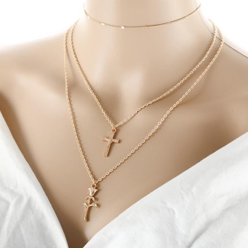 Cross Gift Bridal Collier Fashion Pendants Angel Wing Necklaces Choker Women