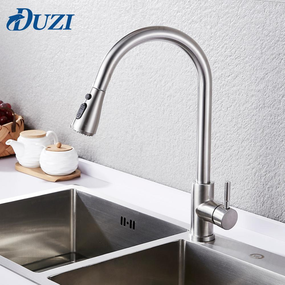 Kitchen Faucet Pull Down Single Handle Spring Kitchen Mixer Sink Faucet Nickel Brushed Stainless Steel Hot & Cold Water Taps