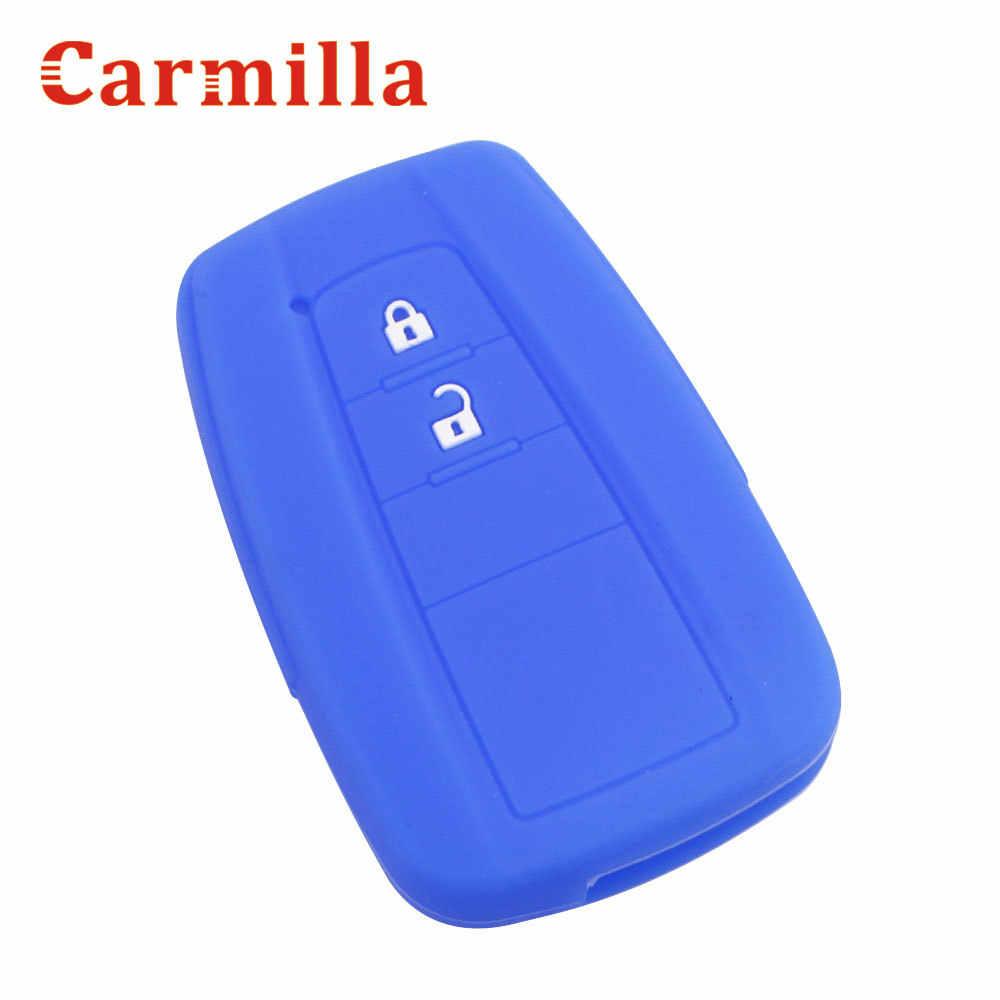 Carmilla 실리콘 자동차 키 뚜껑 커버 케이스 도요타 CHR C-HR 캠리 프리우스 프라도 2016-2020 2 3 버튼 원격 열쇠가없는