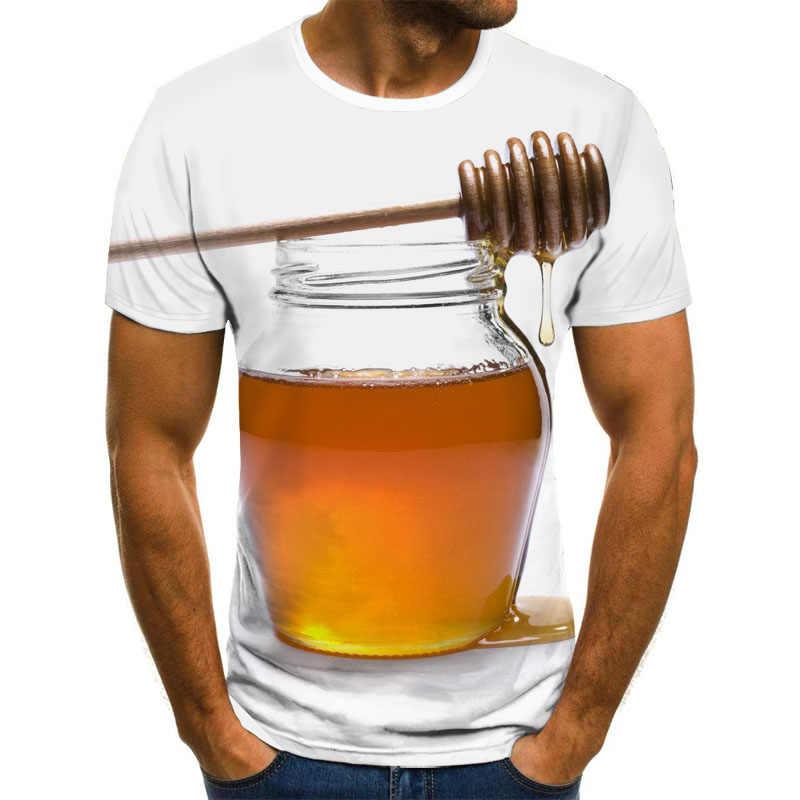 여름 새 남성 t-셔츠 양 꿀벌 3D 운동복 3D 인쇄 성격 짧은 소매 힙합 o-넥 탑