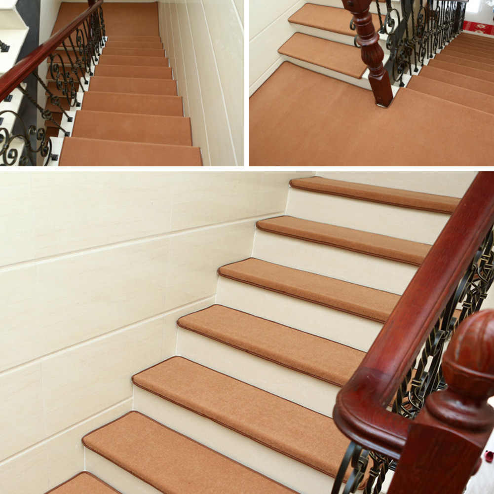 Non Slip Solid Wood Carpet Stair Treads Hard Floor Stair | Solid Wood Stair Treads | Stairway | Commercial | Standard Length 48 | Domestic Timber Stair | Stainless Steel Anti Slip Stair