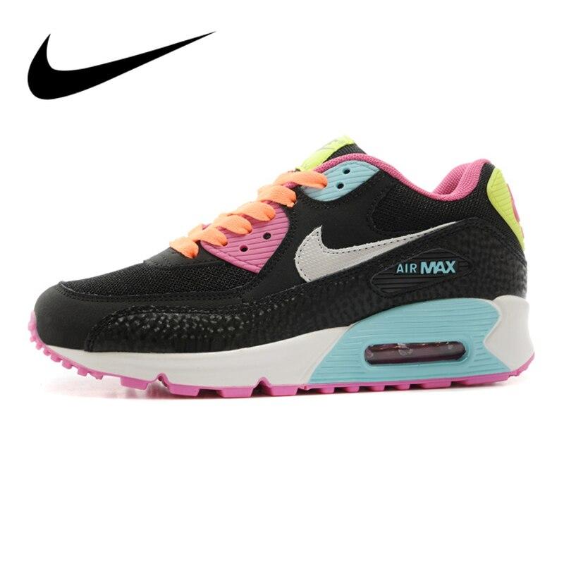 Chaussures de course NIKE Air Max 90 authentiques pour femmes chaussures de sport en plein Air à lacets chaussures de Designer athlétique Durable 345017-063