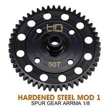 Harden Steel Mod 1 50T Spur Gear sustituye a AR310429 para Arrma 1/8 4x4 vehículos piezas de repuesto acero endurecido negro