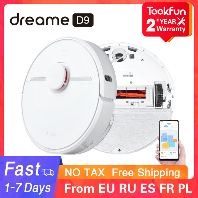 2021 Dreame D9 Robot Vacuum Cleaner for home Sweeping Washing Mopping 3000PA cyclone Suction Dust MIJIA APP WIFI Smart Planned 1