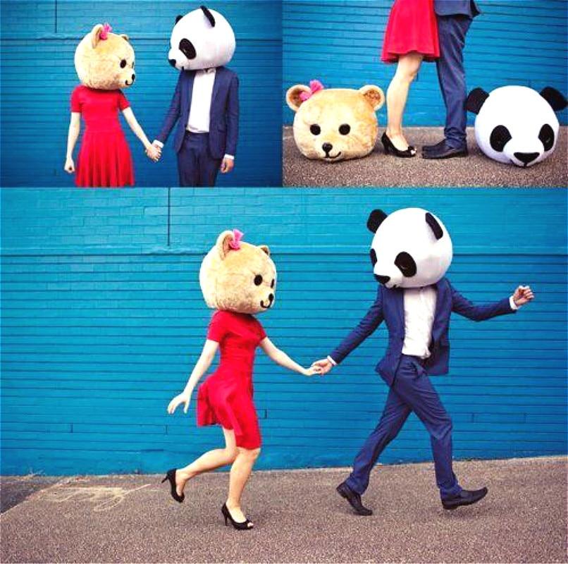 Хэллоуин любовник головы Панда и медведь маскарадный костюм нарядное платье Свадебная вечеринка реквизит взрослый Косплей наружная голов...