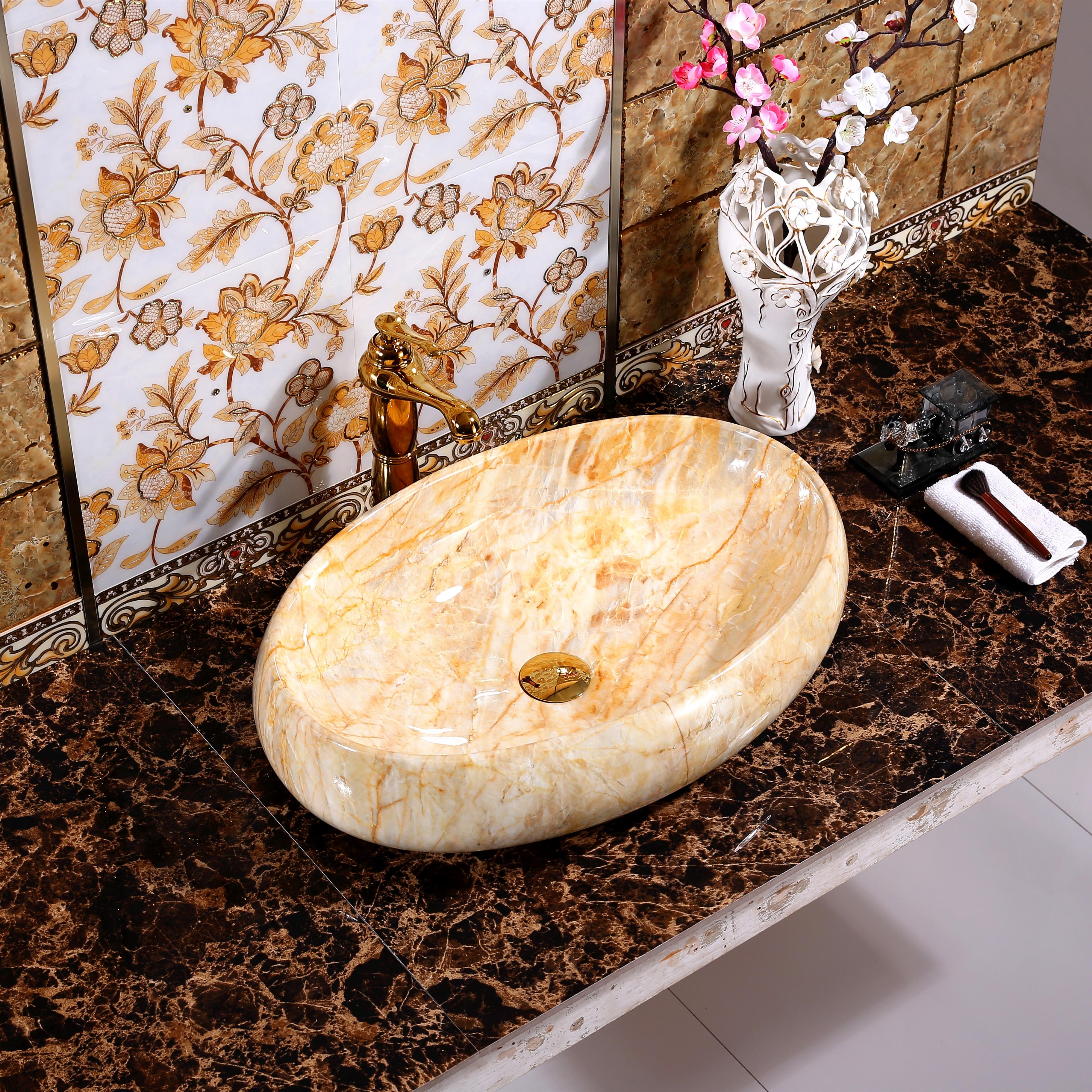 Ellipse évier en céramique Art bassin maison comptoir lavabo ménage salle de bains évier lavabo avec égouttoir