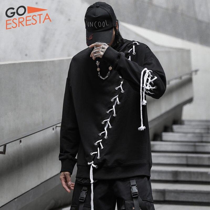 Black Hip Hop Drawstring Splicin Sweatshirts Men Japanese Streetwear Oversize Drawstring Pullovers Casual Cotton Pullover Jacket