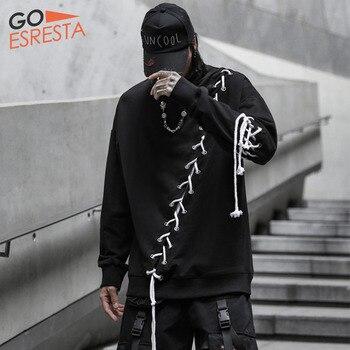 Black Hip Hop Hoodie Sweatshirts Men Japanese Streetwear Oversize Drawstring Stitching Pullovers Casual Cotton Hooded Jacket