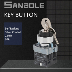 Key Push Button Switch Latching/Lock Metal 2/3 Positions Power Electric NO NC Combined Silver Contact Screws Terminals
