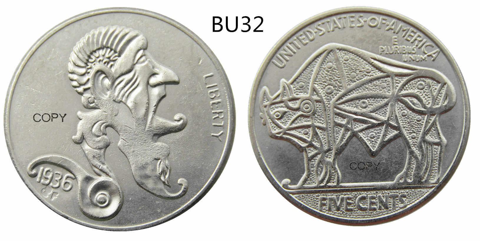 Ons Hobo Creatieve Mix Verschillende Buffalo Nickel Five Cents Schedel Zombie Skeleton Hand Gesneden Kopie Munten