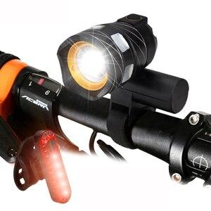 Image 1 - T6 LED USB Linea Luce Posteriore Regolabile Luce Della Bicicletta 3000mAh Batteria Ricaricabile Zoomable Anteriore Della Bici Della Lampada Del Faro