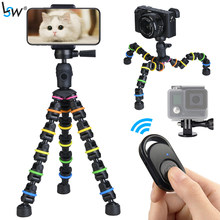Tripod Stand for Phone with Mobile phone Holder Gopro Mount, Mini flexible Desk Tripod with Remote for SmartPhone/Camera/Tablet()