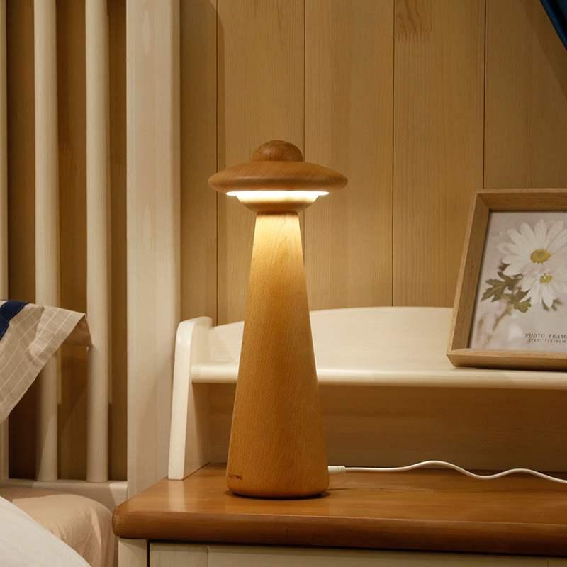 criativo quarto cabeceira candeeiro de mesa decoracao de mesa de madeira solida lampada ufo luz da