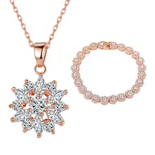Rose Gold Zircon Necklace Bracelet Set Women'S Luxury Jewelry Set Luxury Sparkling Jewelry Set 1 Set Of 2(China)