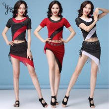 Short Sleeve Belly Dance Performance Dance Costume High Quality Brand Dancing Practice Clothes Triangle Belly Dance Skirt Short