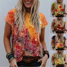 Kuelawear Crew Neck Abstract Graphic Print Street Short-sleeved Multicolor Loose T-shirt Printed Shirts Summer Fashion