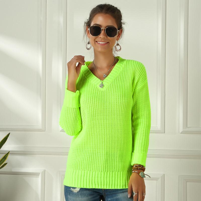 Neon Sweater Women Knitted Green Fuchsia Pink Solid V-neck Pullovers Long Casual Loose Knitted Pullover Female Sweater Jumper