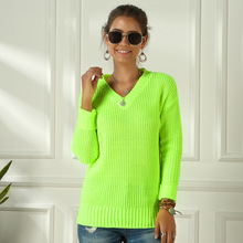 Neon Sweater Women Knitting Green Fuchsia Pink Solid V-Neck Pullovers Long Casual Loose Acrylic Knit Shirts Female Jumper Tops