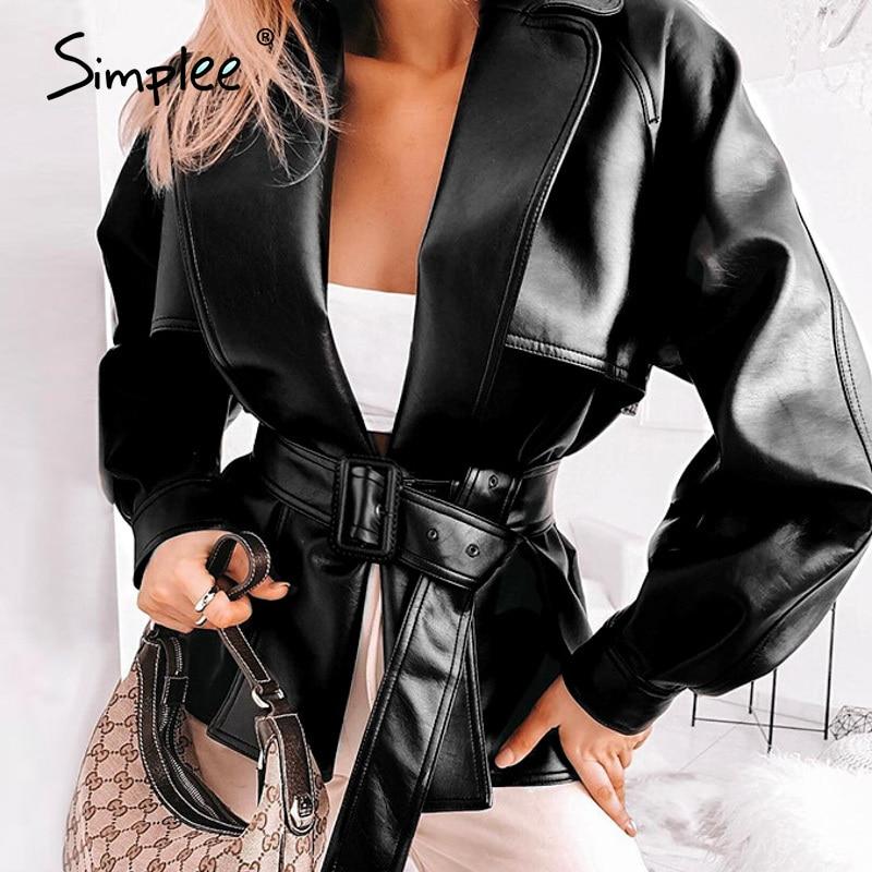 Simplee Fashion Pu Leather Women Jacket Sash Belt Long Sleeve Female Faux Leather Coat Streetwear Spring Summer Ladies Jackets