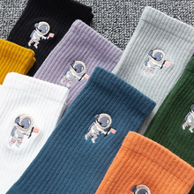 Socks Cartoon 1-Pair Winter Cotton Cute Street Embroidery Astronauts Autumn Creative