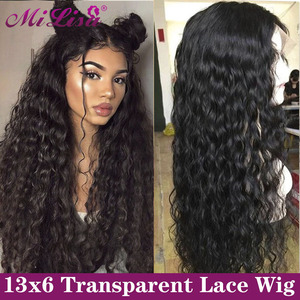 13x6 HD Transparent Lace Wig Water Wave Lace Front Human Hair Wigs 360 Lace Frontal Wig Brazilian Remy 30 Inch 4x4 Closure Wigs(China)
