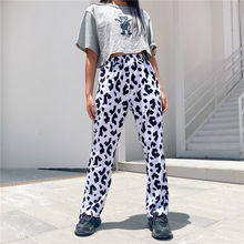 Cow-Pants QWEEK Trousers Loose Streetwear Women High-Waist Wide for Milk Hip-Hop