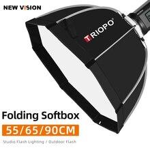 Triopo 55cm 65cm 90cm תמונה Bowens הר נייד מתומן מטרייה חיצוני SoftBox עם נשיאת תיק עבור סטודיו פלאש Softbox