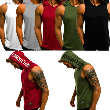 hirigin 2020 Men's Cotton Sleeveless Hoodie Bodybuilding Workout Tank Tops Muscle Fitness Shirts Male Jackets Top 10