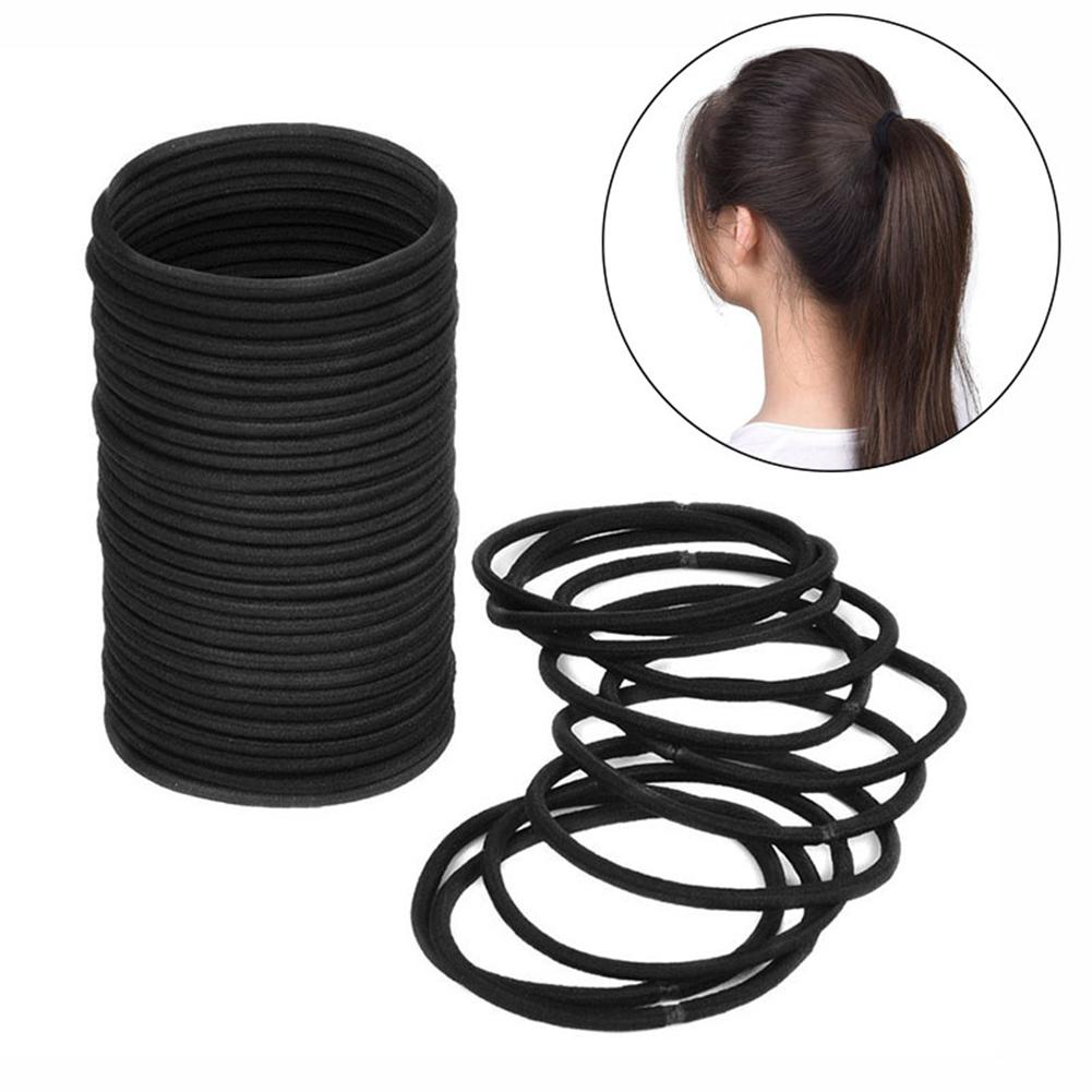 100Pcs Black Thick Snag Free Endless Hair Elastics Hairbands Ponytail Hair Ties