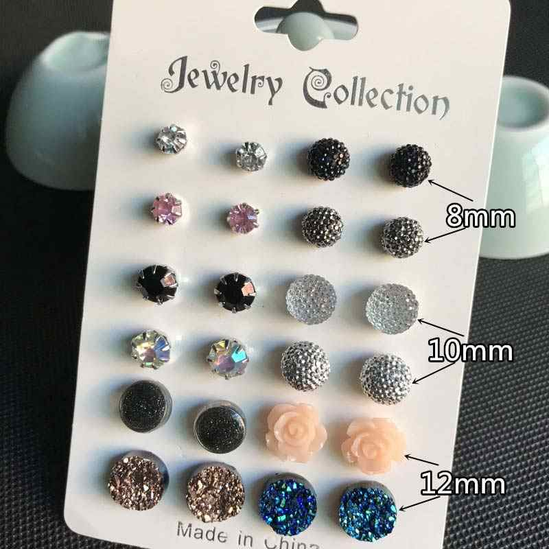 Women Jewelry Accessories Ball 2019 New Arrival Stud Earring Set Piercing Crystal 12Pairs/Set Gifts Girls Graceful Zircon