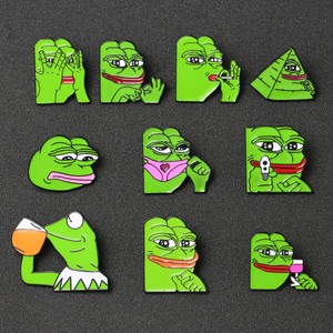 Frog Pepe Brooch Pin Smile Sad Funny Pepe Frog Kermit Meme Enamel Badge Pop Culture Animal Cartoon Jewelry Boy's Club Wholesale(China)