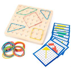 Wooden Geoboard Mathematical Manipulative Material Array Block Geo Board Graphical Educational Toys with 24Pcs Pattern Cards