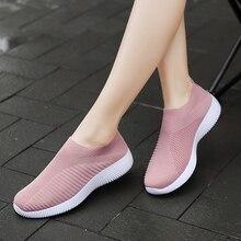 2019 Women Sneakers Vulcanized Shoes Sock Summer Slip On Flat Plus Size Loafers Walking