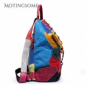 Image 3 - Genuine Leather Backpack Sheepskin Backpack Designer Travel Colorful Patchwork Luxury Shopper Bag Mochila 2020 Womens Bag Trend