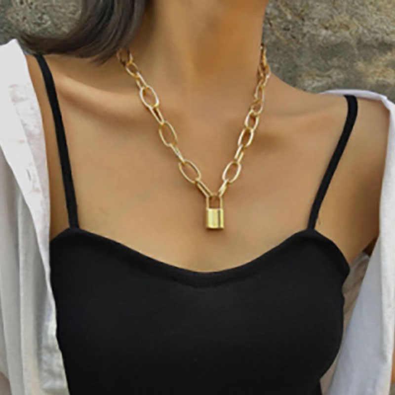 روك قفل قلادة المرأة الذهب اللون سلسلة الشرير القوطية المختنق قلادة طوق قلادة ستيتمينت القلائد للنساء مجوهرات هدية