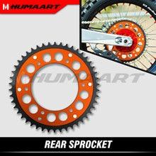 Humaart conjunto de roda dentada traseira 46 t aço alumínio para sx SX-F xc exc xcw 125 200 250 300 350 400 450 bicicleta da sujeira enduro laranja