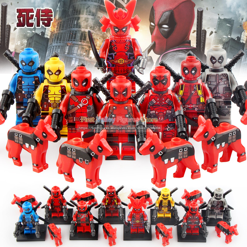 Marvel Avengers Super hero action figures Deadpool with dog Thanos Iron Man collection Building Blocks toys kt1030